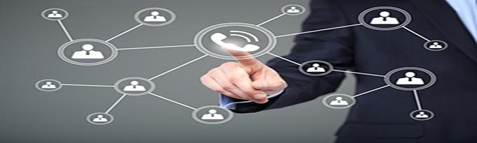 Businesswoman Hand Press Web Telephone Button Sign