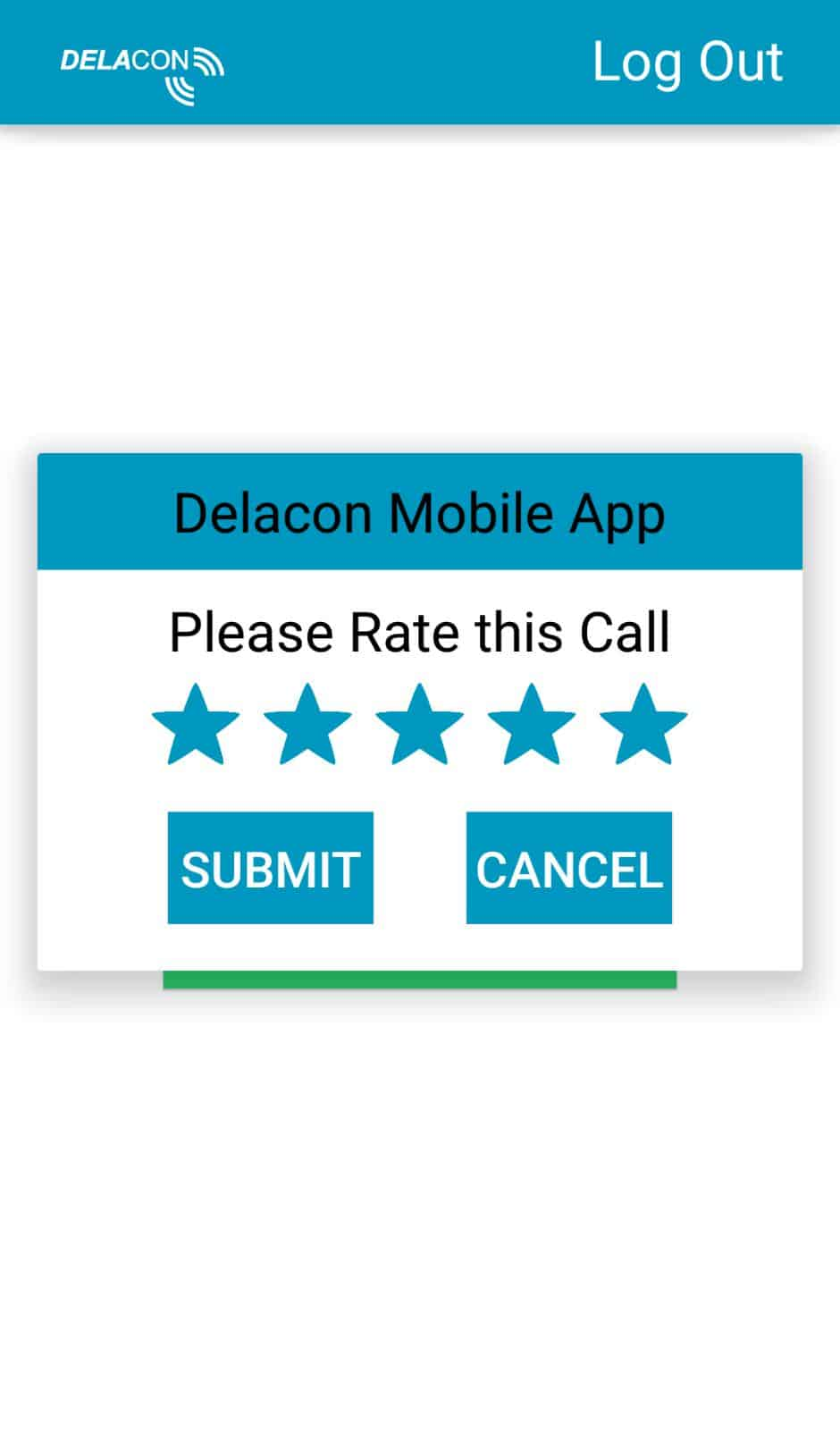 Delacon Android App – Call Rating Screen
