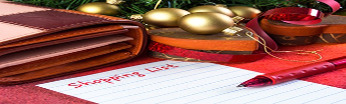 Handwritten Christmas Shopping List With Wallet And Pen
