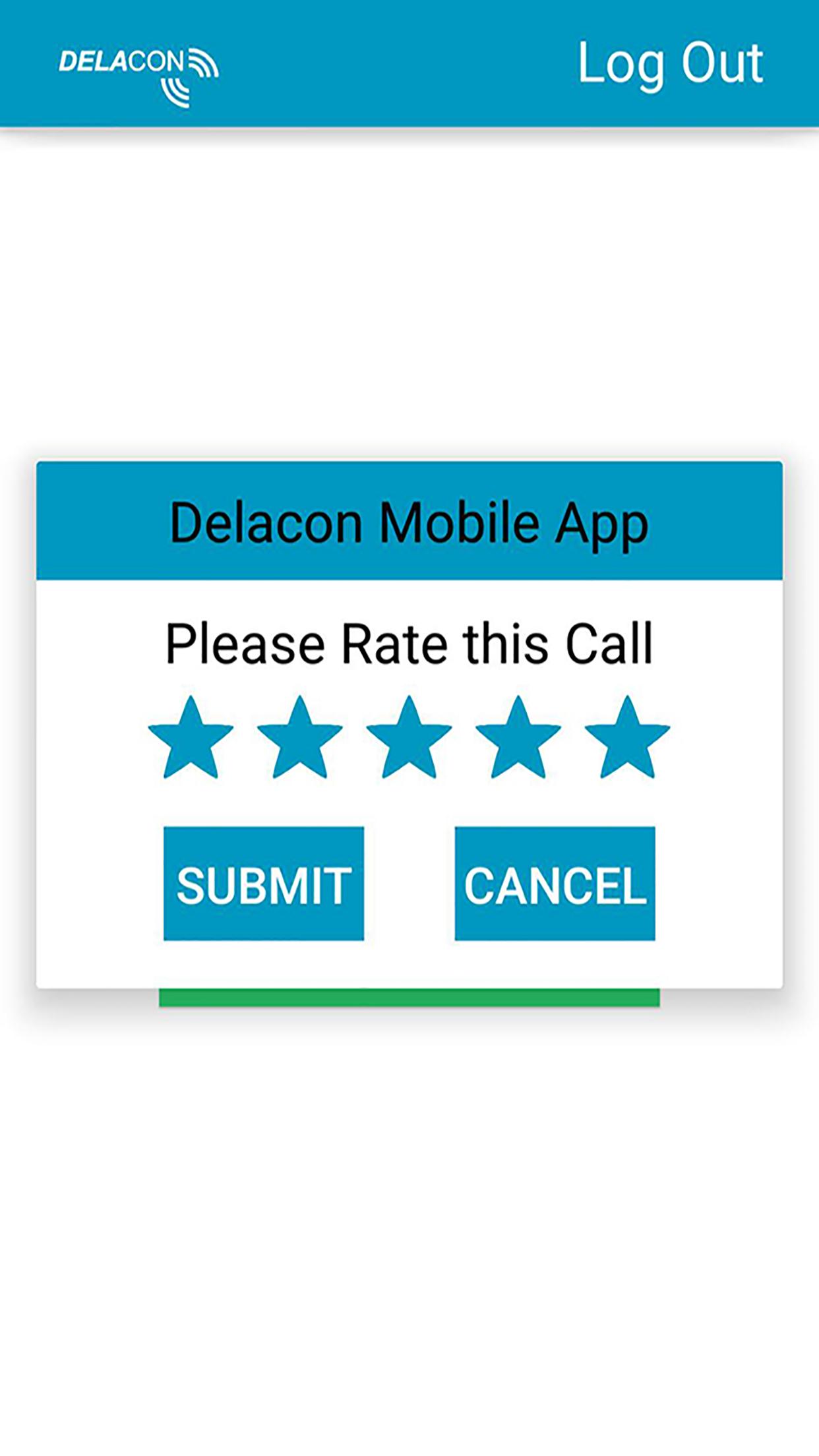 Delacon IOS App – Call Rating Screen