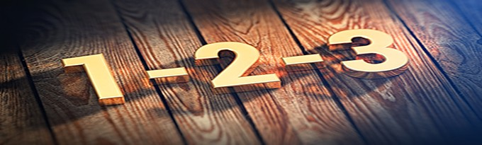 "The Digits ""1-2-3"" Is Lined With Gold Letters On Wooden Planks. 3D Illustration Pic"