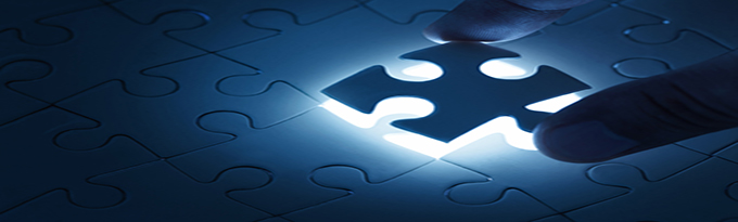 Business Concept, Male Hand Putting Missing Piece Of Jigsaw Puzzle With Copy Space