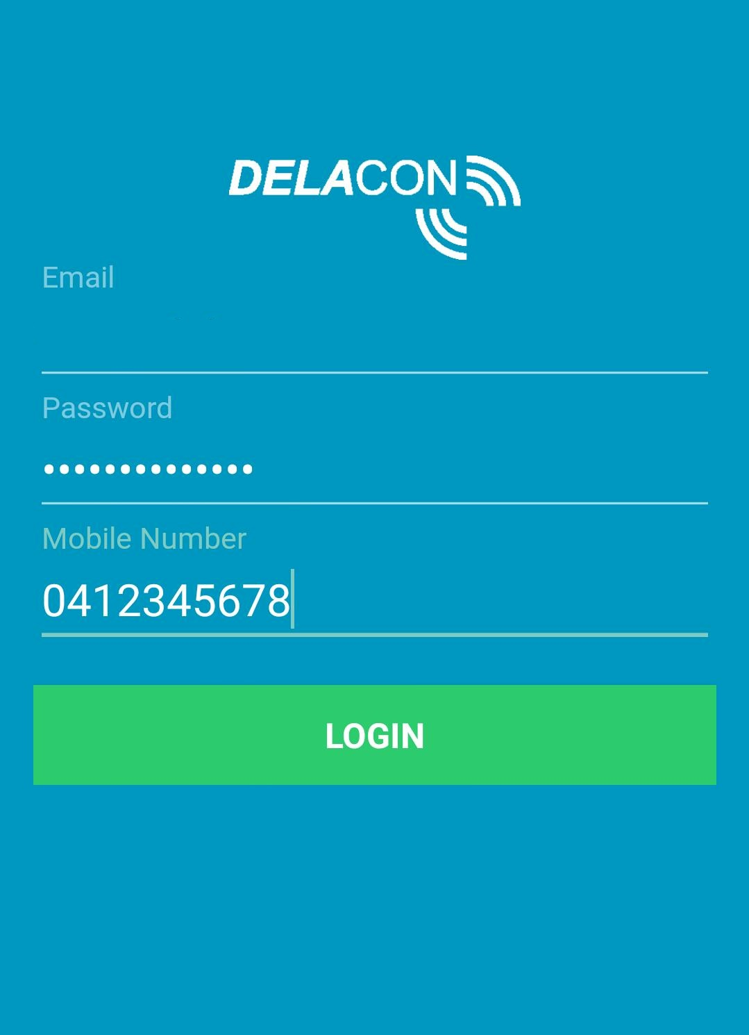 Delacon Android App – Login Screen
