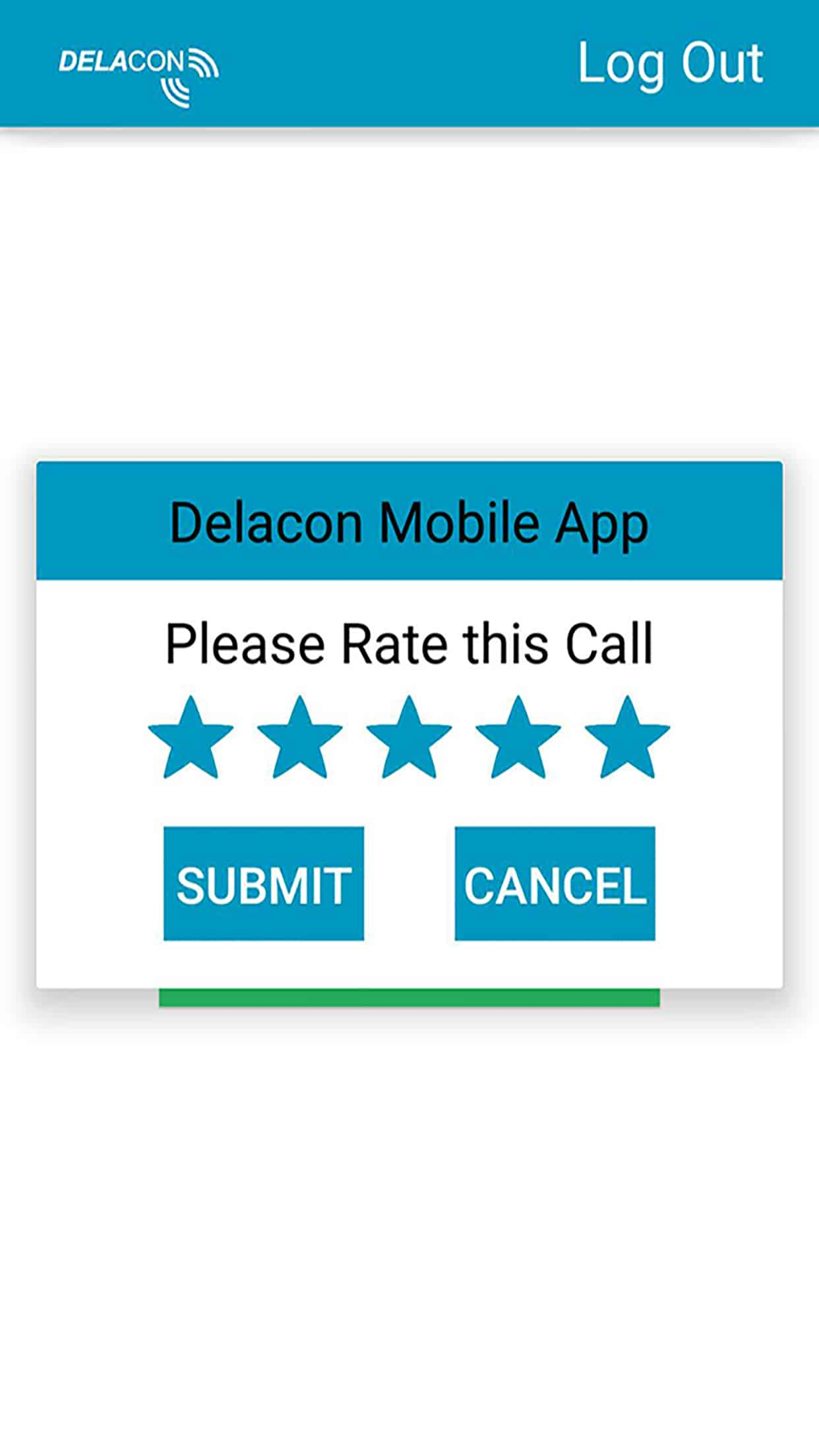 Delacon IOS App – Call Rating Screen